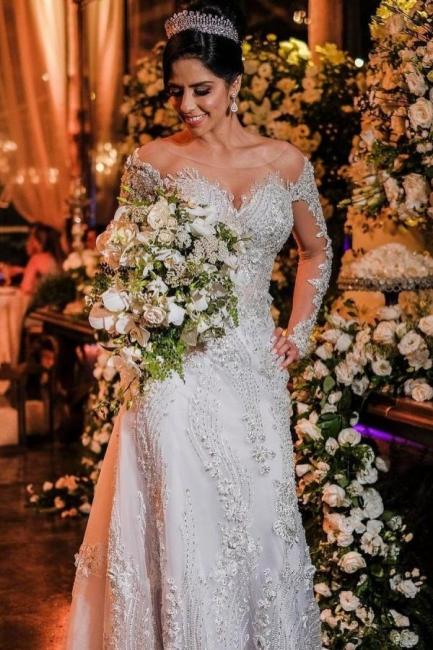 Robes de mariée de luxe avec manches   Robes de mariée Une ligne en dentelle