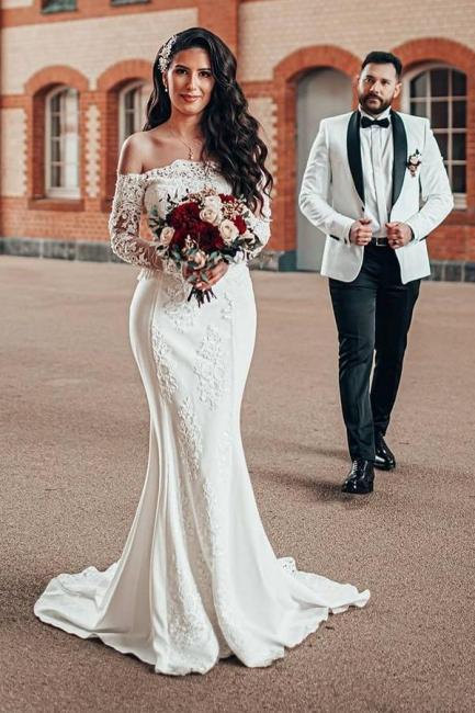 Robe de mariée simple à manches | Robes de mariée en dentelle sirène