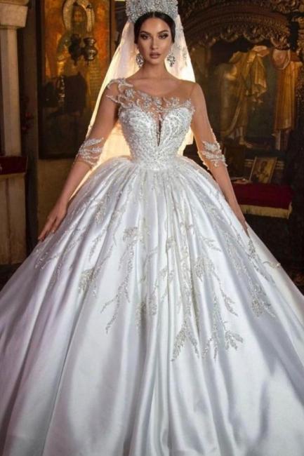 Robes de mariée extravagantes princesse | Robes de mariée à manches