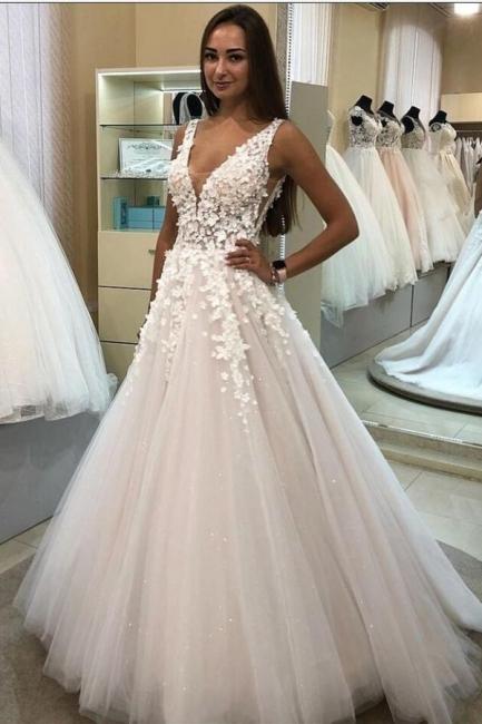 Robes de mariée décolleté en V | Robes de mariée Une ligne en dentelle