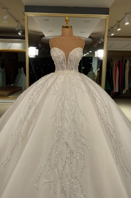 Robes de mariée extravagantes en ligne | Robes de mariée princesse pailletée