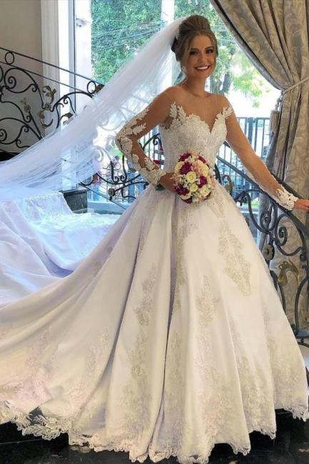 Belles robes de mariée à manches | Robes de mariée Une ligne en dentelle