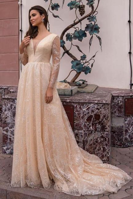 Robes de mariée champagne avec manches | Robes de mariée paillettes
