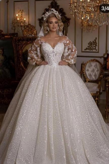 Robes de mariée de luxe avec manches | Robes de mariée princesse paillettes