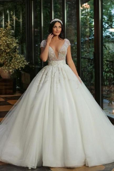 Robes de mariée de luxe Une ligne   Robes de mariée à paillettes