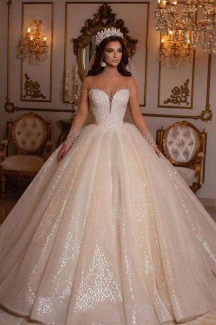 Robes de mariée princesse paillettes | Robes de mariée à manches