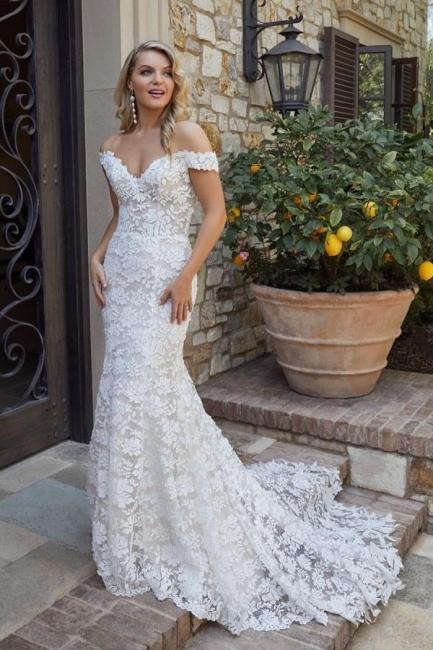 Robe de mariée de créateur en dentelle de sirène | Robes de mariée blanches