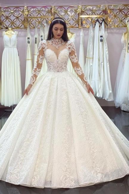 Robes de mariée élégantes A Line Lace   Robes de mariée à manches