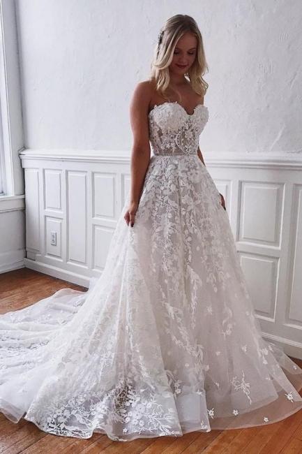 Superbes robes de mariée en dentelle | Robes de mariée blanches Une ligne