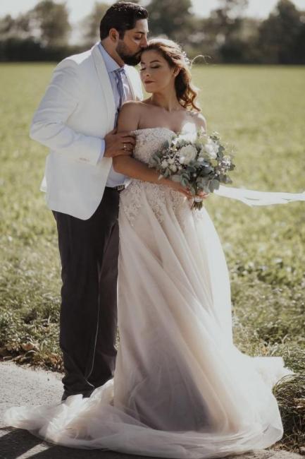Robes de mariée Boho Une ligne | Robes de mariée avec dentelle