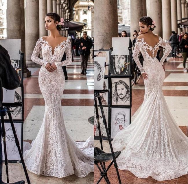 Robes de mariée de créateurs en dentelle de sirène | Robes de mariée à manches