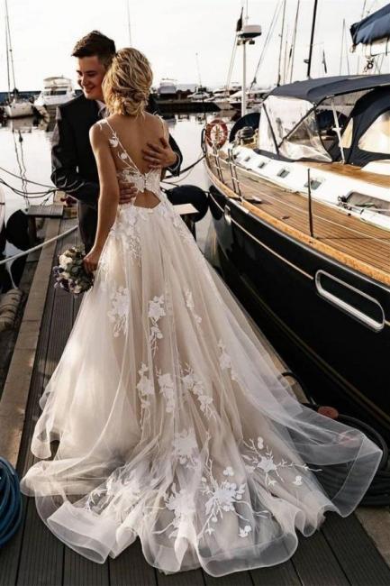 Robes de mariée modernes A Line Lace   Robes De Mariée Pas Cher En Ligne