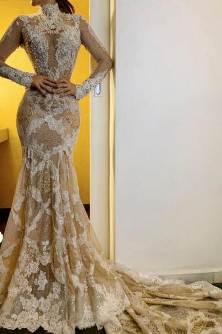 Nouvelles robes de mariée manches longues   Robes de mariée sirène dentelle