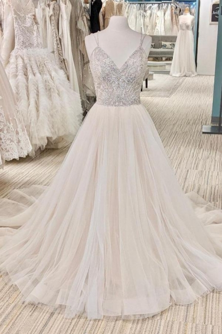 Belles robes de mariée Une ligne | Robes de mariée paillettes
