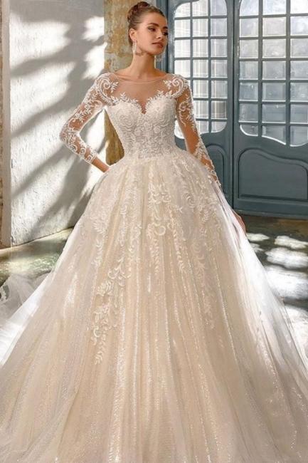 Robes de mariée élégantes à paillettes   Robes de mariée une ligne avec des manches
