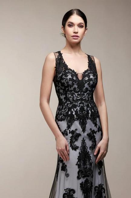 Robe de mariée sirène noire | Robes de mariée avec dentelle