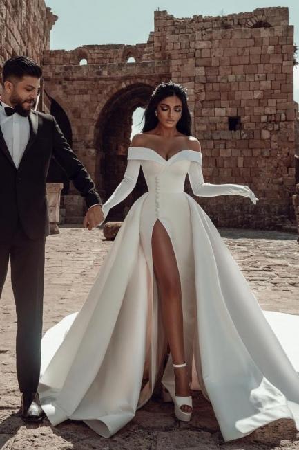 Robes de mariée en satin Une ligne | Robes De Mariée Pas Cher En Ligne