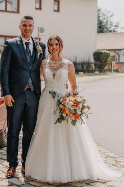 Robe de mariée simple A ligne | Robes de mariée avec dentelle