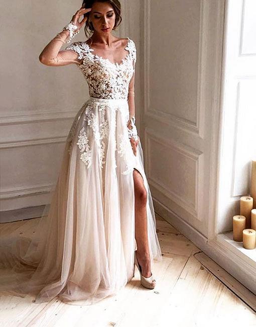 Forme Princesse Pinceau train Col U profond Robes de soirée avec Appliques