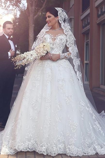 Forme Marquise Traîne mi-longue Col ras du cou Tulle Robes de mariée 2021 avec Appliques
