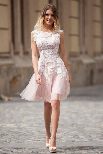 Robe de soirée princesse courte tulle chic | Robe de cocktail princesse avec dentelle