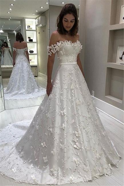 Robe de mariée princesse élégante avec appliques | Robe de mariage princesse épaules nues