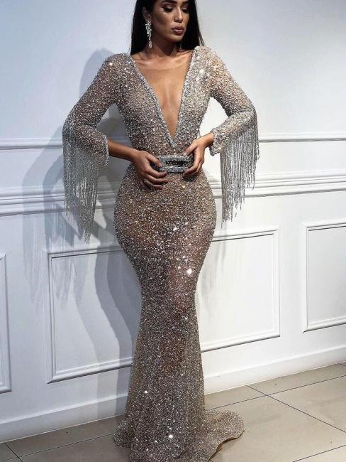 Robe de soirée sirène pailletée col en V | Robe de cérémonie trompette sexy avec cristal