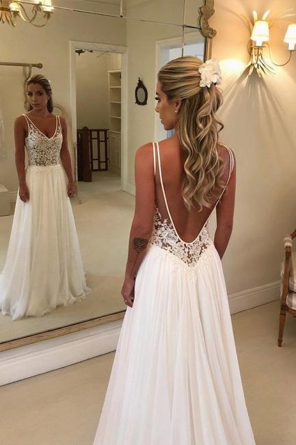 Robe de mariée A-ligne dentelle élégante | Robe de mariage chic col en V