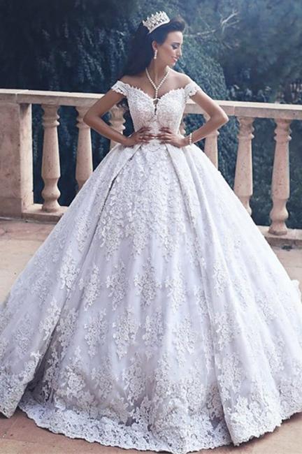 Forme Marquise Traîne moyenne Epaules nues Dentelle Robes de mariée robe de bal avec Dentelle