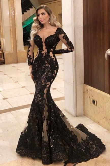 Robes de soirée noires à manches   Top tenues de soirée en ligne