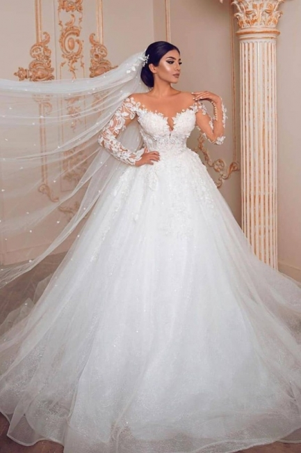 Belles robes de mariée à manches   Robe de mariée en dentelle princesse