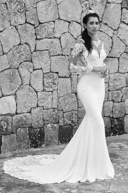 Robes de mariée sirène simples   Robes De Mariée À Manches En Dentelle en ligne