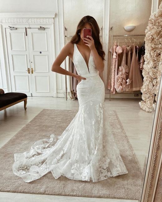 Robes de mariée élégantes décolleté en V | Dentelle De Mariée en ligne