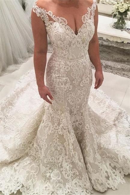 Robe de mariée sirène décolleté V | Robes de mariée avec dentelle