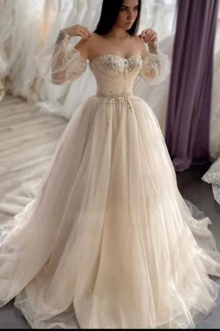 Robes de mariée simples Une ligne   Robes de mariée à manches