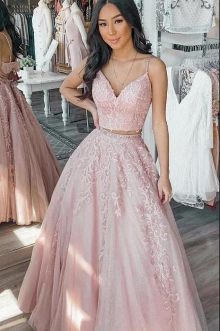Robes De Soirée De Créateur Longue Rose   robes de bal en dentelle