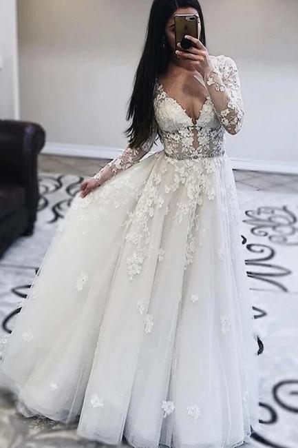 Robes de mariée décolleté en V | Robes de mariée en dentelle avec manches