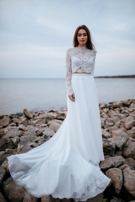Robes de mariée de créateurs avec manches   Tenue de mariée avec dentelle