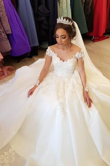 Robe de mariée de créateur à manches | Robes de mariée en dentelle Une ligne