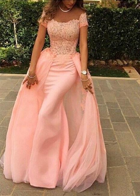 Forme Sirène/Trompette Longueur ras du sol Col U profond robe de cérémonie rose