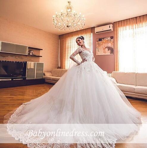 Forme Marquise Traîne cathédrale Tulle Robes de mariée 2020 avec Appliques