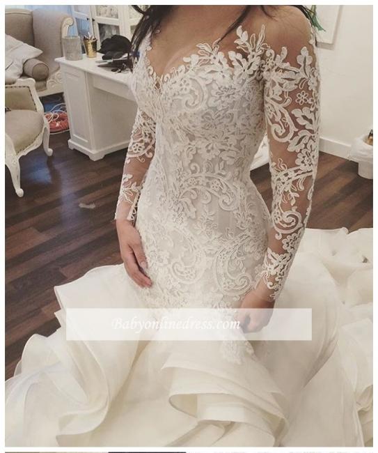 Robe de mariée sirène dentelle luxueuse | Robe de mariage trompette manches longues