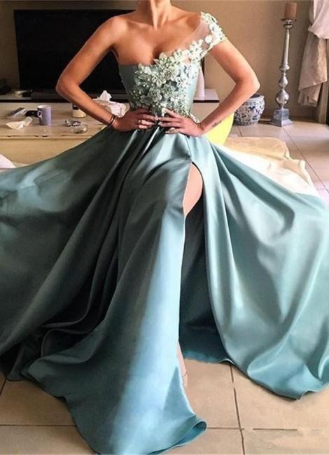 Forme Princesse Longueur ras du sol Épaule asymétrique Robes de bal 2020 avec Appliques