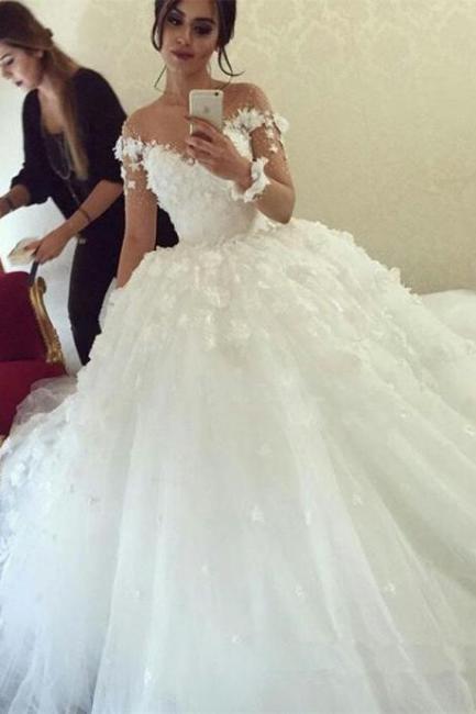 Forme Marquise alayage/Pinceau train Col U profond Robes de mariée 2020 avec Appliques