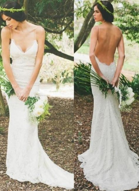 Robe de mariée sirène dentelle dos nu avec bretelles spaghetti | Robe de mariage trompette longue élégante
