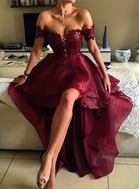 Forme Princesse Traîne asymétrique Epaules nues Robes de bal 2021 avec Dentelle