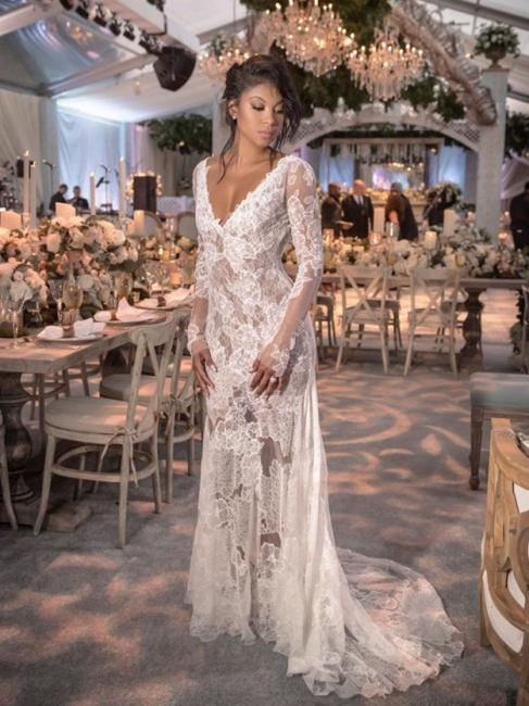 Robe de mariée sirène dentelle col en V manches longues | Robe de mariage trompette dos nu longue élégante