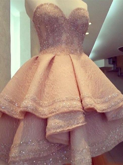 Forme princess robe de cérémonie courte pailleté col en cœur haute couture