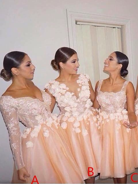Forme Princesse Quatre Modèles Robe de Demoiselle d'Honneur Dentelle Fleurs