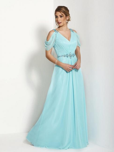 Robe demoiselle d'honneur avec cristal col en V chiffon couleurs au choix